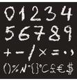 Hand written chalk numbers vector image vector image