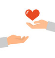 hands with a red heart icon vector image vector image