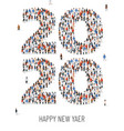 happy new year 2020 large and diverse group of vector image