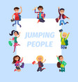 happy young jumping people banner vector image vector image