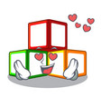 in love wooden toy with character wooden blocks vector image vector image