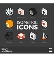 Isometric outline icons set 45 vector image