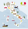 italy travel map vector image vector image