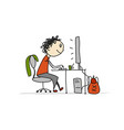 man at work sketch for your design vector image vector image