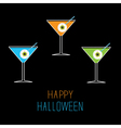 Martini set Happy Halloween card vector image vector image