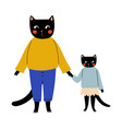 mother cat and her kitten standing and holding vector image