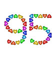 number 95 ninety five of colorful hearts on white vector image vector image