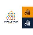 pixel shop market logo design shopping bag logo vector image