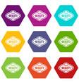premium quality product label icon set color vector image