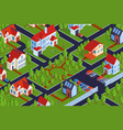 residential district isometric composition vector image vector image