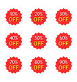 sale with discount off 10 to 90 percent red vector image