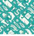 seamless pattern marine creatures vector image