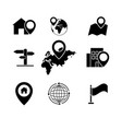 set black navigation pinpointer icons vector image