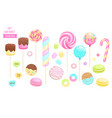 set isolated sweets on white background vector image vector image