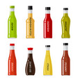 set of glass bottles full of hot sauces vector image vector image