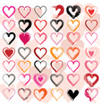 Set of scribble hearts with grungy texture vector image vector image