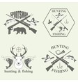 Set of vintage hunting and fishing vector image vector image