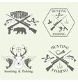 set vintage hunting and fishing vector image