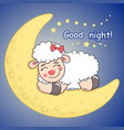 sleeping sheep lying on the half moon vector image