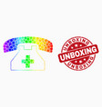 spectrum pixelated medical phone icon and vector image vector image