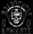 t shirt skull motorcycle graphic design vector image vector image