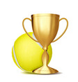 tennis award tennis ball golden cup for vector image vector image