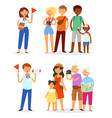tour guide man and woman characters guiding vector image