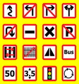 Traffic sign icons on yellow background vector image