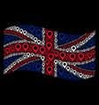 waving british flag mosaic of map marker icons vector image vector image