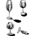wine glasses and a bottle opener vector image