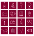 Wine icons set outline vector image vector image