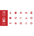 15 hour icons vector image vector image