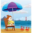 A young girl holding a beach ball at the beach vector image vector image