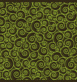 abstract green swirls on black background vector image vector image
