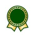 award ribbon isolated gold green design medal vector image vector image