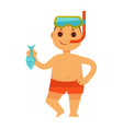 boy kid or child in snorkeling mask holding fish vector image