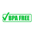 bpa free green check mark icon natural food vector image vector image