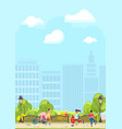 bright design of city park with people vector image