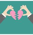 Businessman hands holding pink broken heart Flat vector image vector image