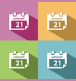 calendar icon with shade on colored background vector image vector image