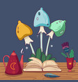 colorful fairy mushrooms fairytale book teapot vector image