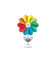 colorful flower symbol isolated on white vector image vector image