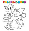 coloring book dragon holding cake 1 vector image vector image