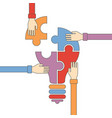concept of creative teamwork in flat outline style vector image vector image