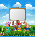 cute bunnies with easter background and blank sign vector image vector image