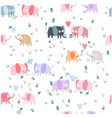 cute couple elephant in the gardenseamless pattern vector image