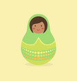 cute russian doll green vector image