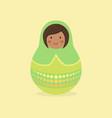 cute russian doll green vector image