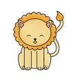 cute scribble lion cartoon vector image