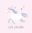 cute unicorn character on pink background vector image vector image